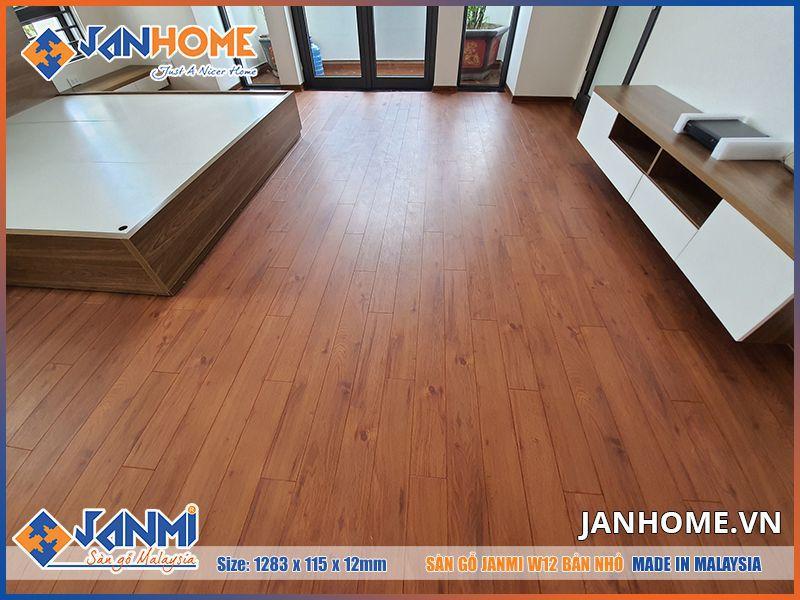 Thi công sàn gỗ janmi w12-12mm bản nhỏ tại chung cư D'capitale Trần Duy Hưng